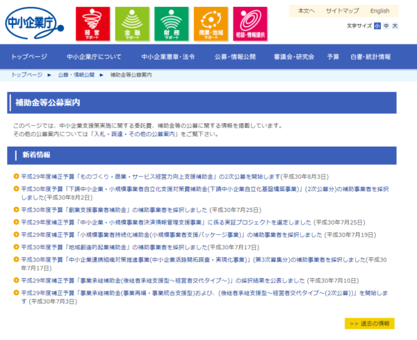 1.経済産業省(中小企業庁)が提供している「補助金」